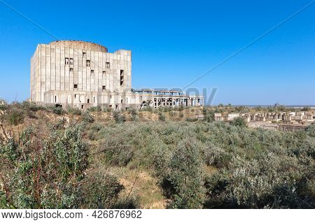 Exterior Of An Abandoned Crimean Atomic Energy Station On A Sunny Day. Kazantyp