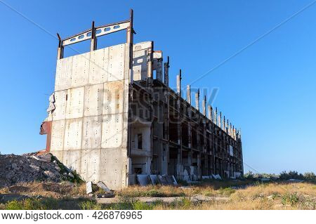 Abandoned Crimean Atomic Energy Station Building On A Sunny Day. Kazantyp