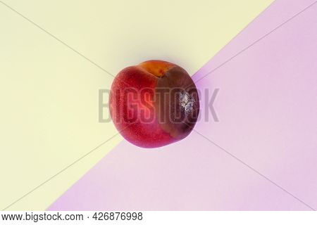 Spoiled Food. Rotten Nectarine On A Colored Background. Mold On Food Leftovers. Copy Space.