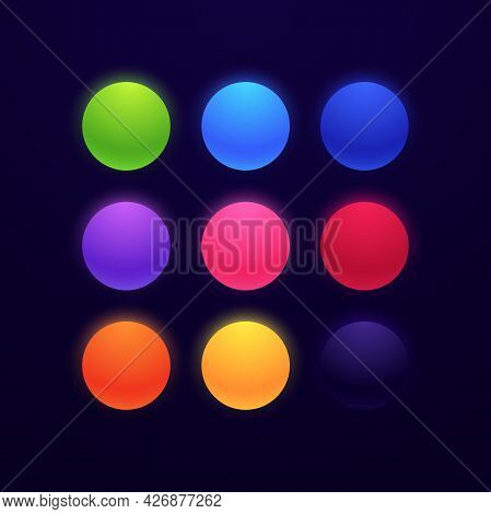 Set Of Glowing Neon Colored Balls Isolated On Dark Background. Matte Bright Spheres In Different Col