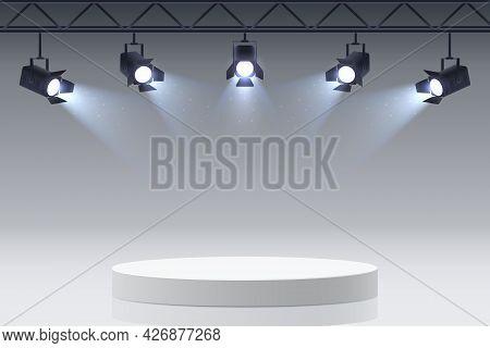 Empty Round Podium Illuminated By Spotlights. Stage Spotlights Aimed At The Platform. White Pedestal