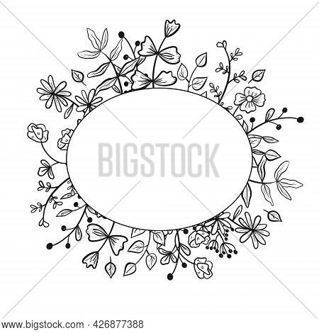 Round Simple Vector Frame Or Border Made From Doodle Twigs. Branches And Stems Of Plants With Flower
