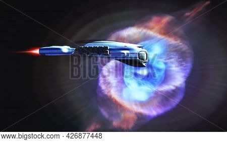 Cat's Eye Nebula Starship 3d Illustration - A Spacecraft From Earth Passes By The Cat's Eye Nebula O