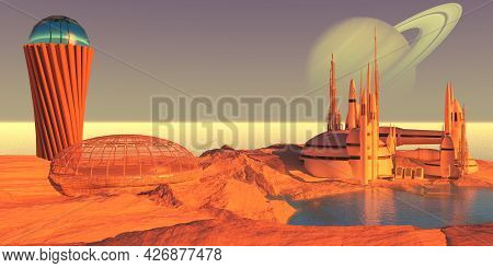 Enceladus Moon Colony 3d Illustration - A Dome, Building And Tower On Saturn's Moon Enceladus Is The
