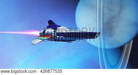 Spaceship Visits Uranus 3d Illustration - A Spaceship Visits Uranus And Its Planetary Rings Which Is