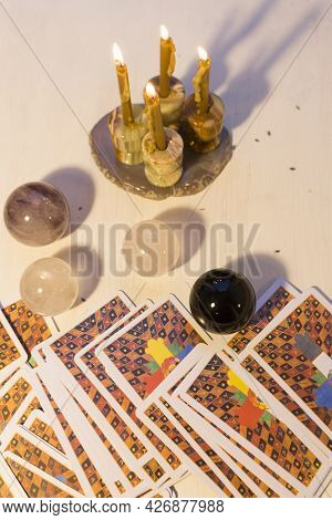 Russia, Moscow, June 11, 2021. Tarot Cards On A Wooden Table. Magical Rituals. Illustrative Editoria