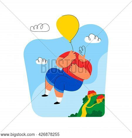Vector Illustration With The Image Of A Boy Who Hovers On Balloon Above The Earth, His Home. Concept