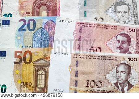 Close-up On A Stack Of Euros And Bosnia And Herzegovina Convertible Mark.