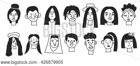 Doodle Black Minimal Human Face Icons Isolated. Monochrome Monoline People Portrait. Line Male And F