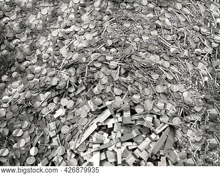 Pile Of Steel Scrap, Scrap From Cold Stamping Sheet Metal Cutting Process, Punching Waste, Material