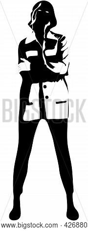 Standing Girl Silhouette Black Isolated In White. Fashion Model In Coat And Pants Sign. Pretty Femal