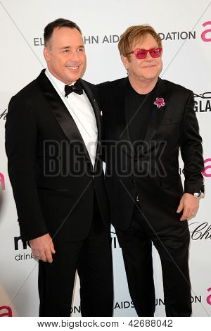 LOS ANGELES - FEB 24:  David Furnish, Elton John arrive at the Elton John Aids Foundation 21st Academy Awards Viewing Party at the West Hollywood Park on February 24, 2013 in West Hollywood, CA