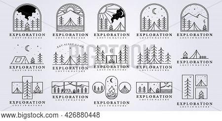 Set Collection Bundle Camp Night Tent Camp Fire Logo Vector Illustration Design Clever Creative Line