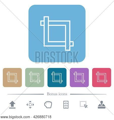 Crop Tool White Flat Icons On Color Rounded Square Backgrounds. 6 Bonus Icons Included