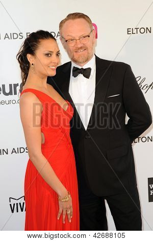 LOS ANGELES - FEB 24:  Allegra Riggio, Jared Harris arrive at the Elton John Aids Foundation 21st Academy Awards Viewing Party at the West Hollywood Park on February 24, 2013 in West Hollywood, CA