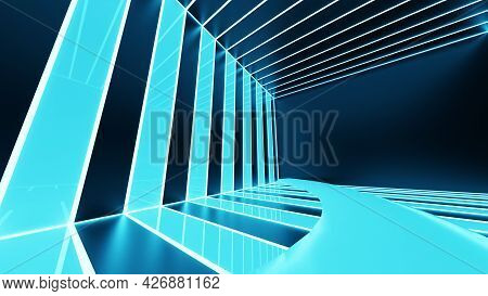 3d Rendering, Abstract Blue Neon Lines, Geometric Shapes, Virtual Space, Empty Room, Ultraviolet Lig