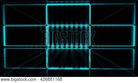 3d Rendering, Abstract Blue Pink Neon Lines, Geometric Shapes, Virtual Space, Empty Room, Ultraviole