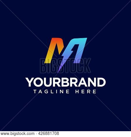 M Letter Logo Design With Lighting Thunder Bolt. Electric Bolt Letter Logo Vector Illustration