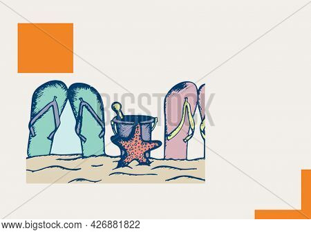 Flip flops, bucket and star fish icons at the beach against grey background. summer holiday and vacation concept