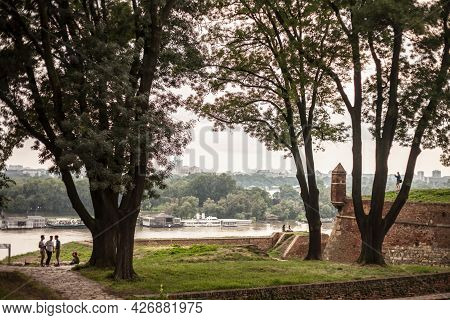 Belgrade, Serbia - July 7, 2018: Selective Blur On Tourists And Local People Over The Panorama Of Th