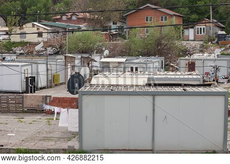 Belgrade, Serbia - May 1, 2021: Panorama Of The Slum Township Of Kijevo, Made Of Modular Prefabricat