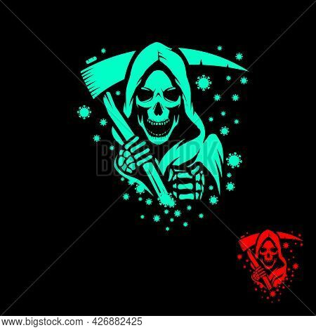 Grim Reaper Deadly Coronavirus Concept Vector Illustration For  Logo, Sticker, Tshirt Print, Design