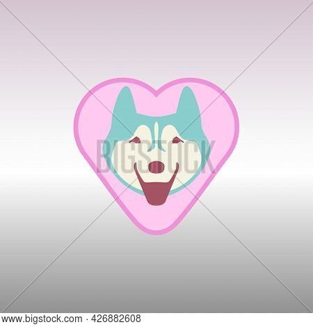 A Friendly Joyful Smiling Kind Husky Dog On The Background Of A Heart As A Sign Of A Favorite
