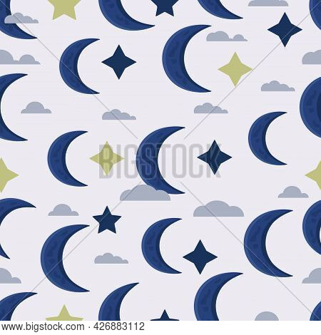 Heavenly Seamless Pattern. Blue Moon, Stars And Clouds. Illustration.