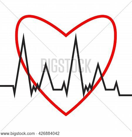 Heartbeat Cardiogram. Heart And Cardiogram Icon. Flat Outline Style. Vector Illustration Of Heart Ra