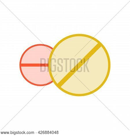 Medical Colored Pills. Treatment Of Different Diseases. Pharmaceutical Icon. Medicinal Pills Design.