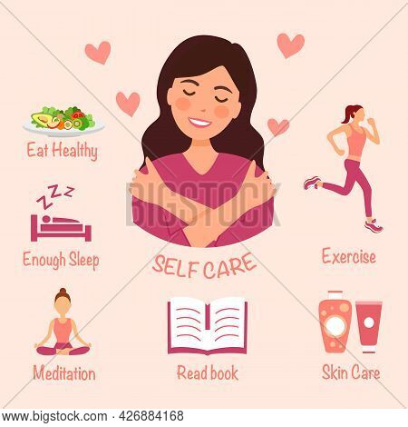 Self Care Infographic With Useful Advices In Flat Design. Self Love Concept.