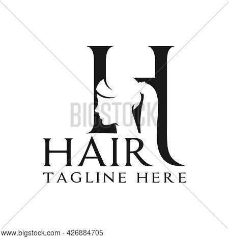 Haircut Salon Illustration Logo Design With Letter H