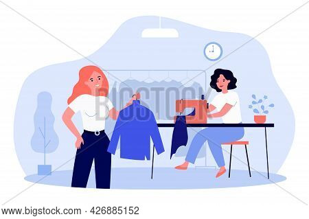 Woman Coming To Clothing Repair Shop. Flat Vector Illustration. Girl Buying Clothes Made To Her Meas