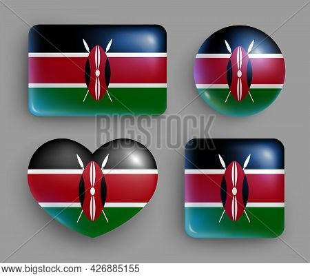 Set Of Glossy Buttons With Kenya Country Flag. Eastern Africa Country National Flag, Shiny Geometric