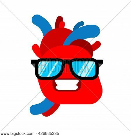 Anatomical Heart Cool With Glasses Isolated. Vector Illustration