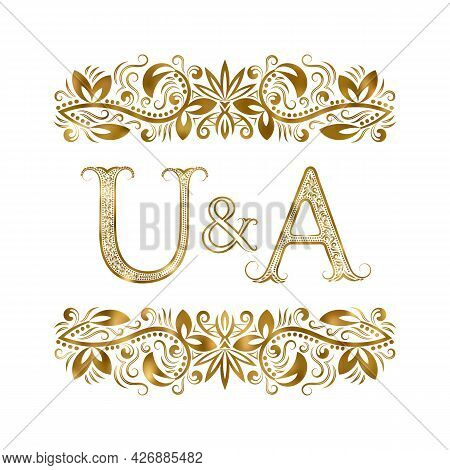 U And A Vintage Initials Logo Symbol. The Letters Are Surrounded By Ornamental Elements. Wedding Or