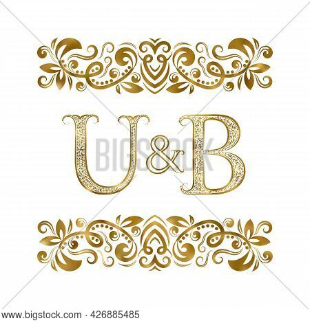 U And B Vintage Initials Logo Symbol. The Letters Are Surrounded By Ornamental Elements. Wedding Or