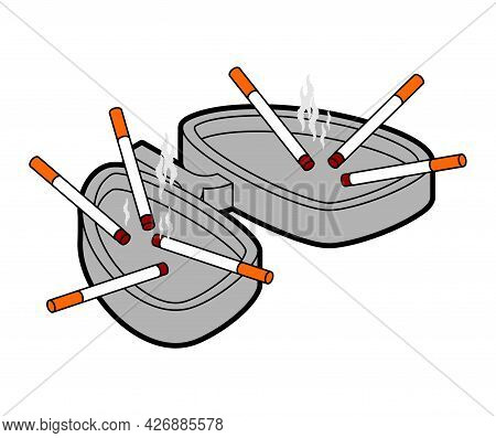 Ashtray Lungs And Cigarette Butts. Vector Illustration