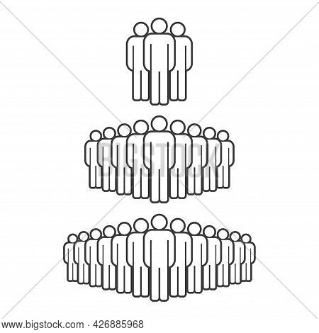 Small, Medium And Large Group Of People. Male People Crowd Line Icon. Persons Symbol Isolated. Vecto