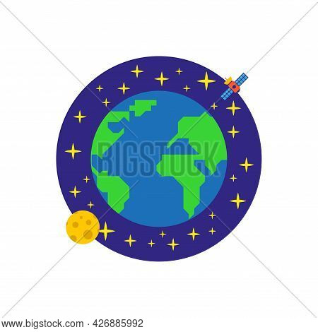 Earth In Space Icon. Earth In Space. Moon And Satellite In Earth Orbit. Vector Illustration.