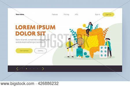 Tiny Doctors Checking And Treating Large Intestine Flat Vector Illustration. Cartoon Inflammation In