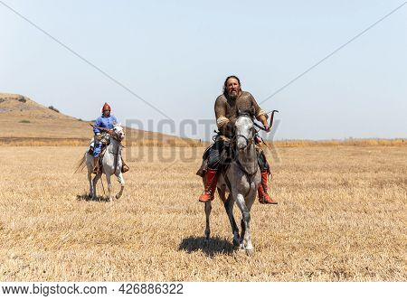 Tiberias, Israel, July 02, 2021 : Horse Warriors - Participants In The Reconstruction Of Horns Of Ha