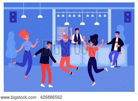 Young People Having Fun At Party In Bar. Flat Vector Illustration. Women And Men, Friends Dancing To