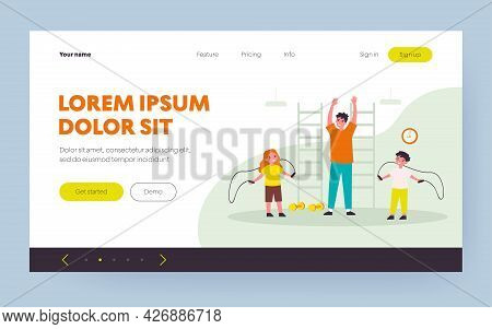 Smiling Kids Training In Gym With Trainer. Skipping Rope, Exercise, Jumping Flat Vector Illustration