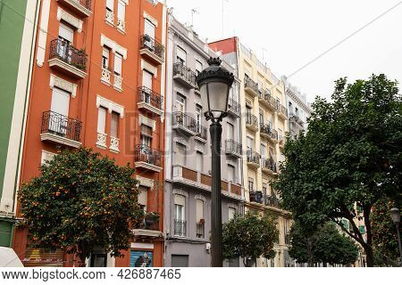 Valencia, Spain - March 02 2020: Facade Of Beautiful Historic Apartment Houses In Spain