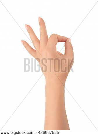 Womans Hand Ok Sign On White Background. Gesture All Right Everything Is Ok. Isolated White. Close-u