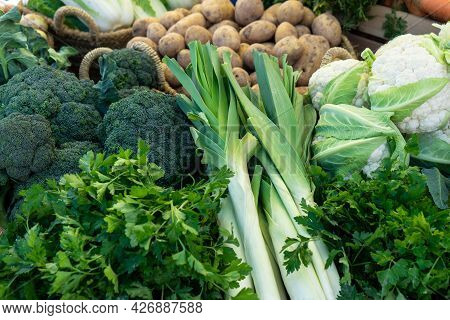 Close Up Of Various Healthy Vegetables Such As Broccoli, Cauliflower, Potatoes And Garden Leek Displ