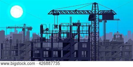 Construction Site Banner Silhouette Landscape. Rooftop, Workers, Concrete Piles, Tower Crane. Under