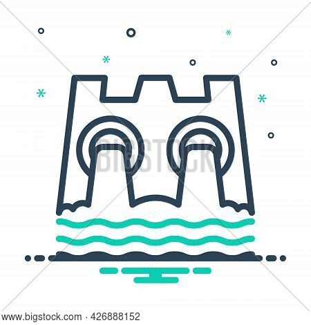 Mix Icon For Hydro-power Dam Water Conservation Ecology Electricity Turbine Nature Renewable Solar S