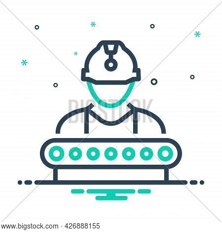 Mix Icon For Industry-worker Construction Supervisor Industry Manager Helmet Factory Employee Job